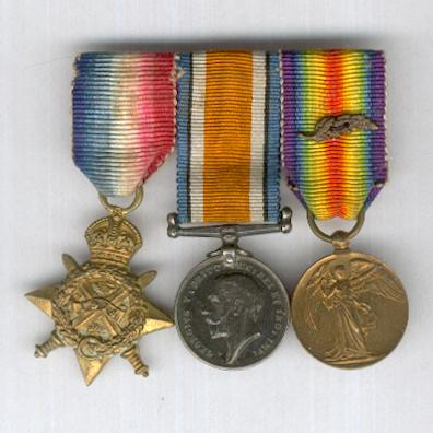 Great War Miniature Star Trio: 1914 Star (Mons Star), British War Medal 1914-1920 and Inter-Allied Victory Medal, Great Britain and British Empire issue 1914-1919 with Mentioned in Despatches oak leaves, bar-mounted for wear