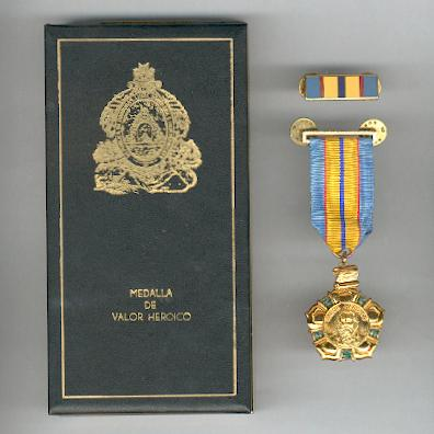 Medal of Heroic Valour (Medalla de Valor Heroico) with enamel ribbon bar, in original case of issue by N. S. Meyer, New York