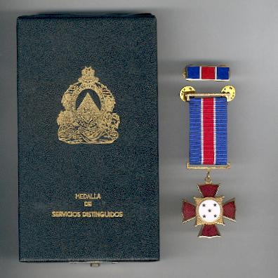 Distinguished Service Medal (Medalla de Servicios Distinguidos) with enamel ribbon bar, in original case of issue by N. S. Meyer, New York