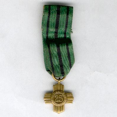 Army Long Service Cross for 25 years' service, miniature