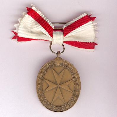 Order of Merit of the Sovereign Military Hospitaller Order of St John of Jerusalem, of Rhodes and of Malta, bronze medal with ladies' bow by Spink & Son Ltd, in fitted case of issue by Casazza, Rome