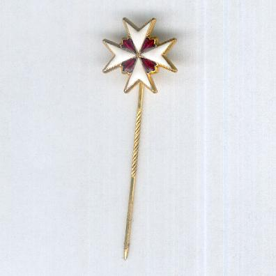 Order of the Knights Hospitaller of St John the Baptist, stick pin (Orden Caballeros Hospitaliaros de San Juan Bautista, alfiler de corbata)