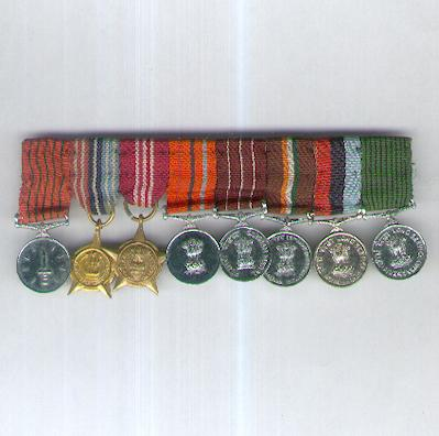 Miniature Group of Eight, bar-mounted for wear