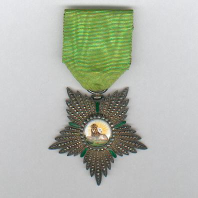 Imperial Order of the Lion and the Sun, civil division (Nishan-i-Shir u Khurshid, nishan-i-hormat), V class, by G. Wolfers of Brussels, Belgium, 1820-1925 issue
