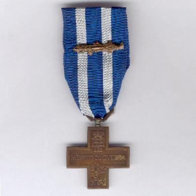 Cross for War Merit (Croce al Merito di Guerra), Royal issue, with gladius (citation) on the ribbon