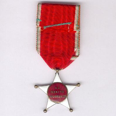Colonial Order of the Star of Italy, knight (Ordine Coloniale della Stella d�Italia, cavaliere)