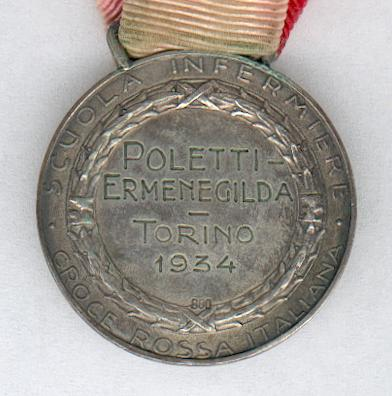 Italian Red Cross, Nursing School, silver medal, (Croce Rossa Italiana, Scuola Infirmiere, medaglia d'argento), attributed in 1934