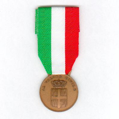 Royal Medal for Civil Valour, bronze (Regno d'Italia Medaglia al Valore Civile, bronzo), 1930-1946 issue