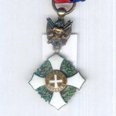 Military Order of Savoy, knight (Ordine Militare di Savoia, cavaliere) on trophy of arms suspension, 1855-1947 issue, miniature