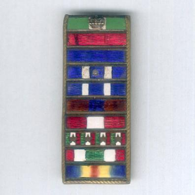 World War I era and later enamel ribbon bar with ten awards, mounted for wear