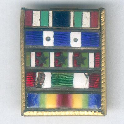 World War I enamel ribbon bar with five awards, mounted for wear