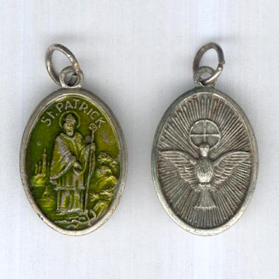 Two Pilgrim Medallions: one portraying Saint Patrick, the other the Holy Spirit and the Holy Family, both made in Italy