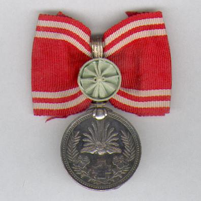 Imperial Red Cross Society (日本赤十字社 nihon sekijūji sha) Special Membership Medal on Ladies' bow