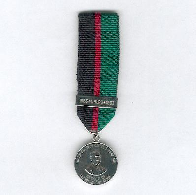 Medal for the 20th Anniversary of Independence, 1983, with '1963 * UHURU*1983' bar, miniature