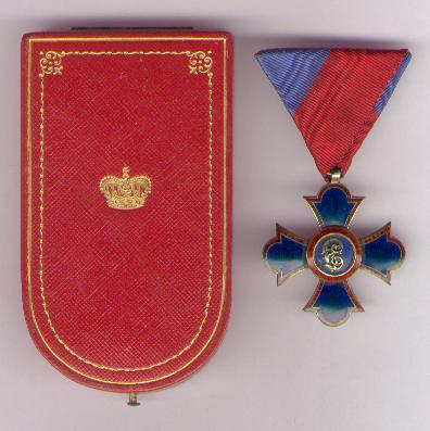 Princely Order of Merit of Liechtenstein, knight's cross (Fürstliche Liechtensteinische Verdienstorden, Ritterkreuz) in fitted embossed case of issue by Anton Reitterer of Vienna