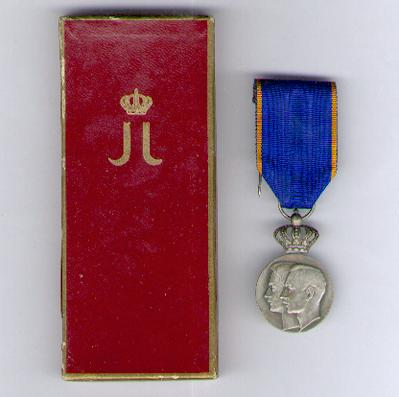 Commemorative Medal, 1953 (for the Marriage of H.R.H. Crown Prince Jean with H.R.H. the Princess Joséphine-Charlotte of Belgium) in original presentation box