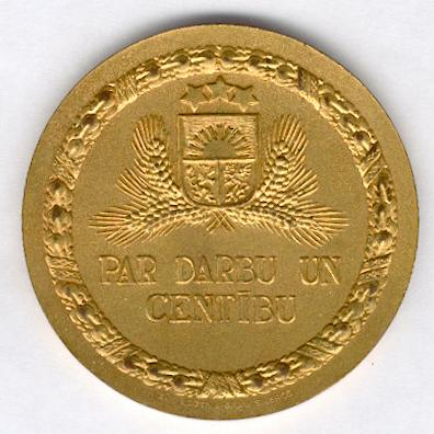 Latvian Agricultural Chamber (Latvijas Lauksaimnieku Kamera) gold (gilt) medal for labour and diligence