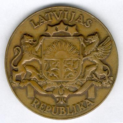 Large bronze medal of the Latvian Republic, 1918-1940