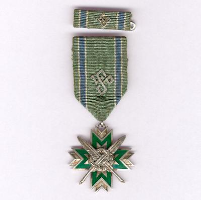 Badge of Honour of the State Statistical Office, 3rd class (Valsts Statistikas Pãrvaldes, Goda Zîme, III pakāpe), 1935, with ribbon bar