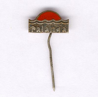 Silvered metal and red enamel stickpin 'Palanga'