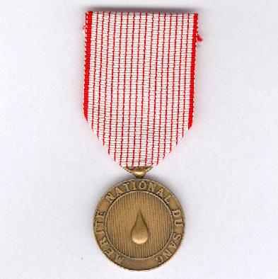National Merit Medal for Blood, bronze (Médaille du Mérite National du Sang de bronze)