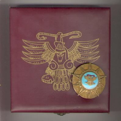 Order of the Aztec Eagle (Orden Mexicana del Aguila Azteca) Breast Star in massive original fitted embossed case of issue