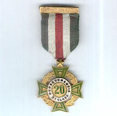 Cross of Perseverance, III class for 20 years' service (Cruz de Perseverancia, 3a clase por 20 años de servicio), 1926 issue, 2nd series