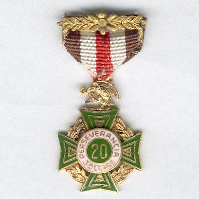 Cross of Perseverance, III class for 20 years' service (Cruz de Perseverancia, 3a clase por 20 años de servicio), 1926 issue, 2nd series, miniature
