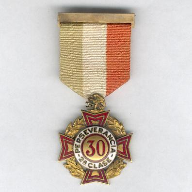 Cross of Perseverance, II class for 30 years' service (Cruz de Perseverancia, 2a clase por 30 años de servicio), 1926 issue, 1st series