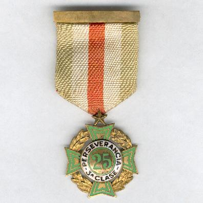Cross of Perseverance, III class for 25 years' service (Cruz de Perseverancia, 3a clase por 25 años de servicio), 1926 issue, 1st series