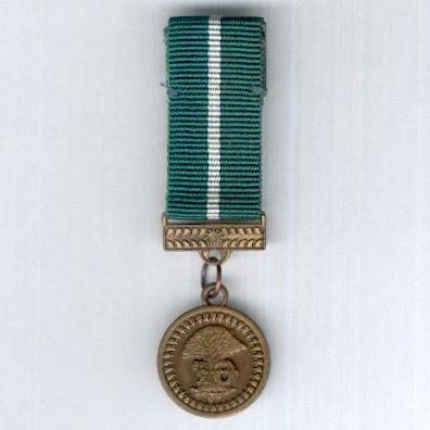 Police Service Medal, bronze, for 10 years' service, miniature