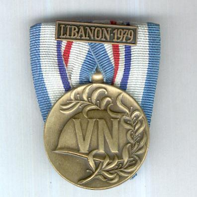 Commemorative Medal for United Nations Peacekeeping Operations with Libanon 1979 clasp (Herinneringsmedaille voor Verenigde Naties Vredesoperaties met Libanon 1979 gesp)