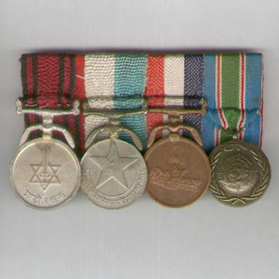 Group of Four, bar-mounted, comprising: Royal Guards Service Medal, Overseas Service Medal, Military Long Service Good Conduct Medal and United Nations Interim Forces in Lebanon Medal