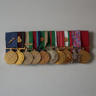 Group of Ten: Sultan's Commendation Medal with palm, Royal Guard of Oman Special Service Medal, General Service Medal with 'Dhofar' bar, As-Sumood Medal, Peace Medal,10th 15th 20th and 25th National Day Medals, Long Service and Good Conduct Medal