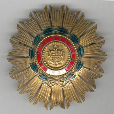 Order of the Sun (Ordem del Sol del Perú), Grand Officer, breast star