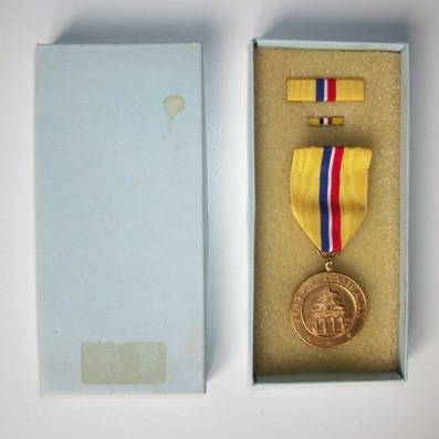 Korean Campaign Medal, 1950-1954 with ribbon bar and enamel lapel pin in original box of issue by El Oro of Quezon City