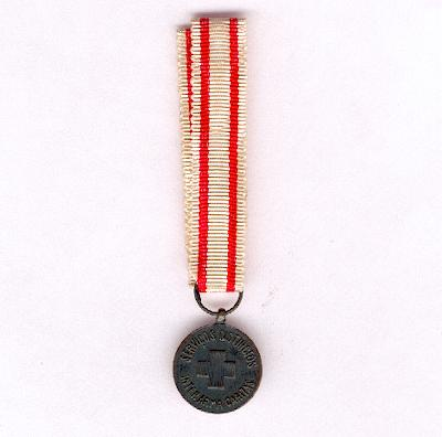 Order of the Portuguese Red Cross (Ordem da Cruz Vermelha), bronze medal for distinguished service, miniature
