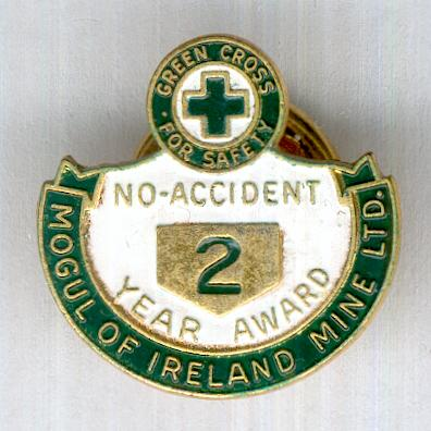 Mogul of Ireland Mine Ltd. No Accident Two Year Award badge