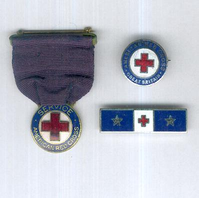 American Red Cross: Service Medal, American Red Cross Great Britain Badge and 15 Years Service Bar
