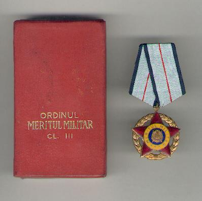 Order of Military Merit, III class (Ordinul Meritul Militar, clasa III), R.S.R. 1965-1989 issue, in fitted embossed case of issue