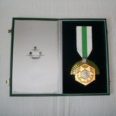 Order of Civil Accomplishment, large breast badge in fitted embossed case of issue by Spink and Son, London