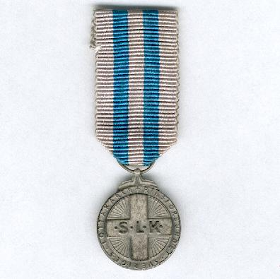 Swedish Women's Voluntary Defence Service (Sveriges Lottakårer Riksförbundet) miniature silver medal, 1966