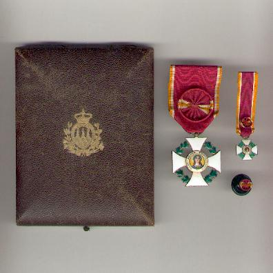 Order of Saint Agatha, officer (Ordine Equestre di Sant' Agata, ufficiale) with miniature and buttonhole rosette in fitted embossed case of issue