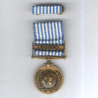 United Nations Korea Medal, 1950-1953, with ribbon bar