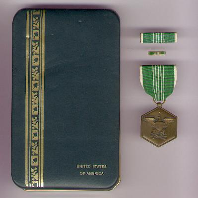 Army Commendation Medal with ribbon bars in case of issue