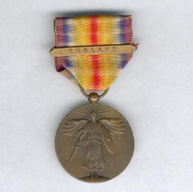 Inter-Allied Victory Medal, United States of America issue, 1917-1918, (Laslo Reproduction Type 1), with 'England' clasp
