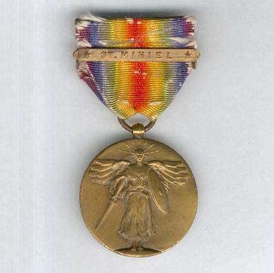 Inter-Allied Victory Medal, United States of America official issue, 1917-1918 with 'St. Mihiel' clasp