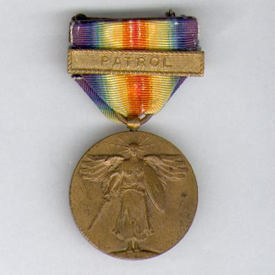 Inter-Allied Victory Medal, United States of America official issue, 1917-1918 with 'PATROL' clasp (Navy)