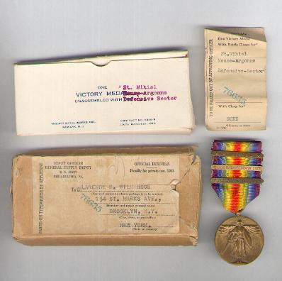 Inter-Allied Victory Medal, United States of America official issue, 1917-1918 with 'St. Mihiel', 'Meuse-Argonne' and 'Defensive Sector' clasps in original Art Metal Works Inc. box with contents slip and official addressed mailing box
