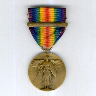 Inter-Allied Victory Medal, United States of America rare official issue type 1 with wire suspension loop, 1917-1918, with unofficial 'Offensive Sector' clasp